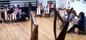 room full of harps and players